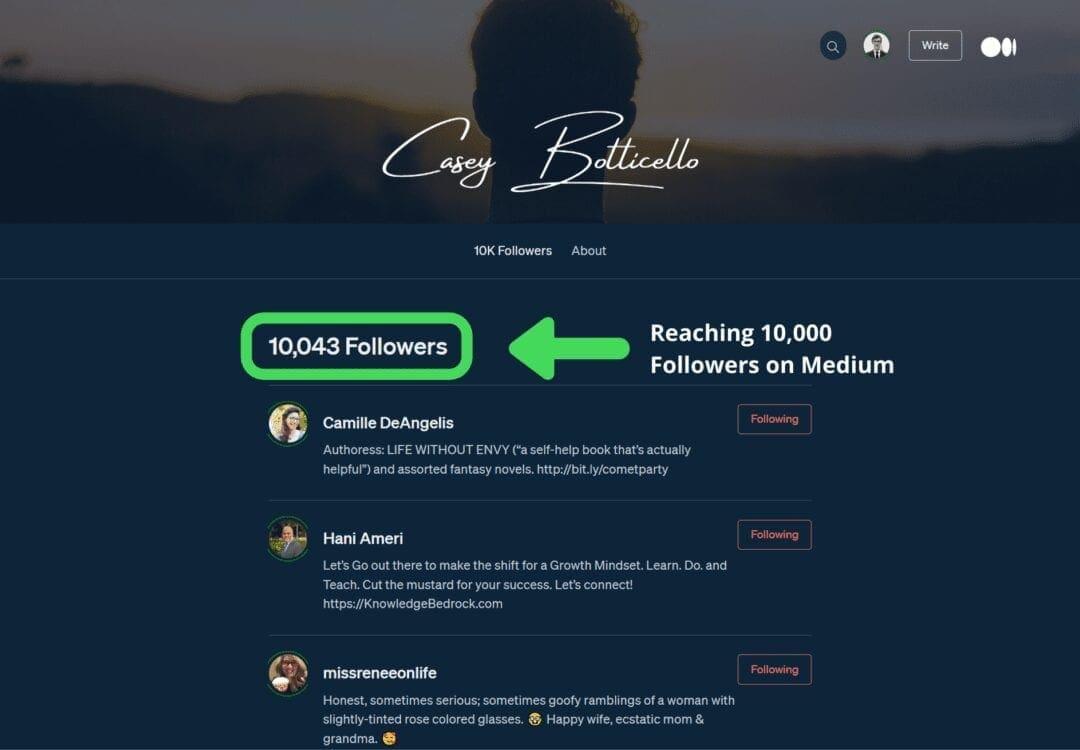 Medium 10000 followers casey botticello, medium followers, medium progile, how to increas emedium followers, how to get more medium followers, casey botticello medium, top medium writers