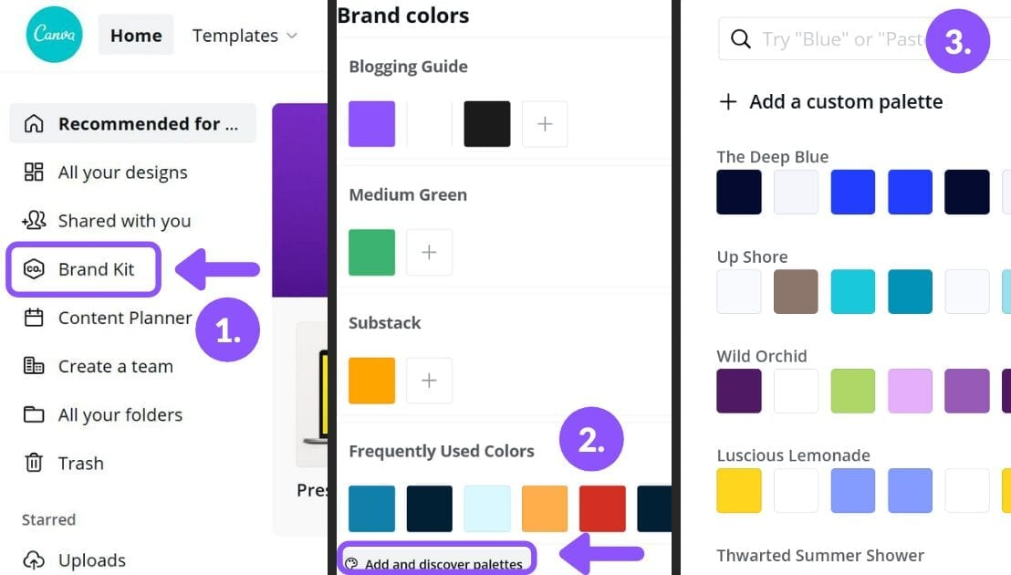 canva brand kit, save colors in canva, canva color palette, how to save color in canva