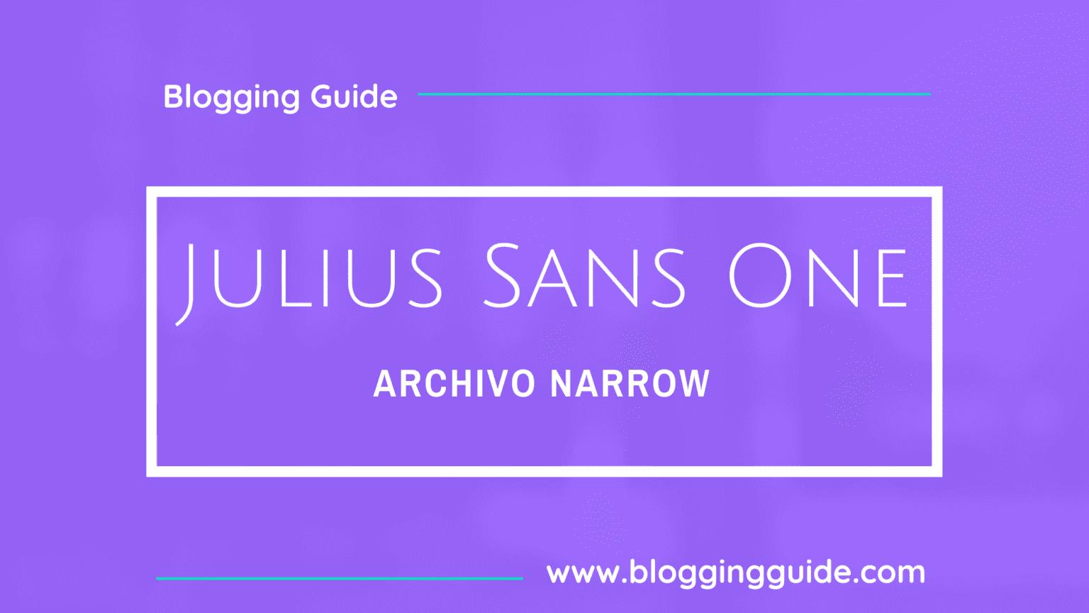 Julius Sans One Font Pairing