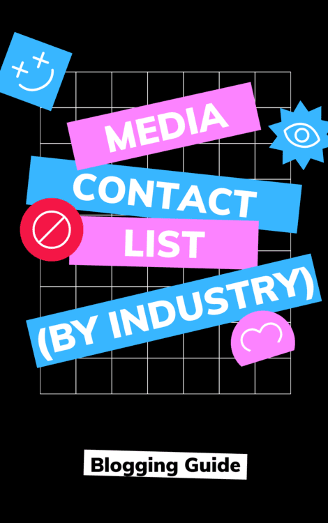 Media Contact List Industry eBook Cover by Blogging Guide